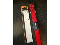 Red pet face large dog collar