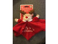 Baby's my first Christmas reindeer comforter brand new