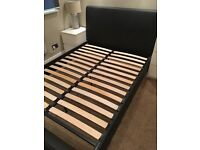 Double leather bed