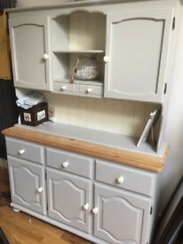 Upcycled Kitchen Dresser Unit In Two Parts Cream/Light Grey Drawers Shelves 137cm Wide 42cm Deep