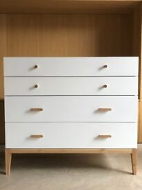 Habitat Tatsuma – Ash – White 4 Drawer Wide Chest