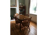 Farm house style pine table + 4 chairs