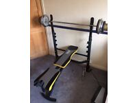 everlast ev440b weight bench with barbell and dumbbell pols and 60kg in various sized weight plates