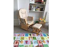 Gliding nursery feeding chair with stool