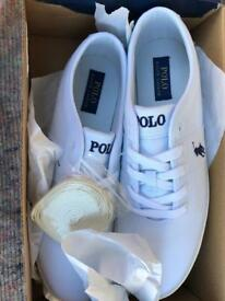 Brand New Men's White/ cream Ralph Lauren Polo Trainers,Size UK 11 With Cream Trim
