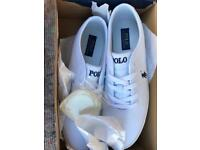 Brand New Men's White/ cream Ralph Lauren Polo Trainers,Size UK 11 With Cream Trim