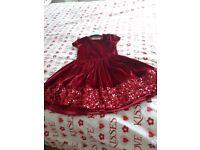 Girls red velvet xmas dress age 6-7