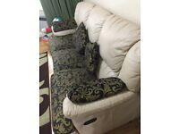 """Real Leather / Fabric 3 Seaters Sofa set with matching cushions *Free to collect"""""""