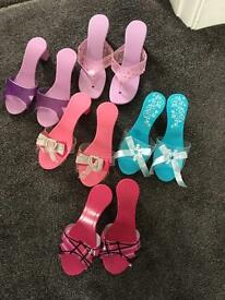 5 pairs of children's dress up slippers shoes