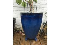cobalt blue glazed tall terracotta flower pots 2 available