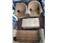 Conservatory wicker furniture sofa 2x arm chairs and table