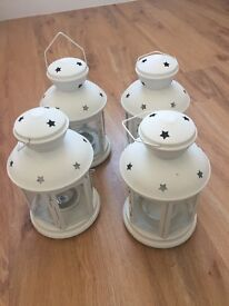 White ikea candle holders