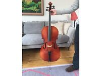 3/4 Cello with bow and case