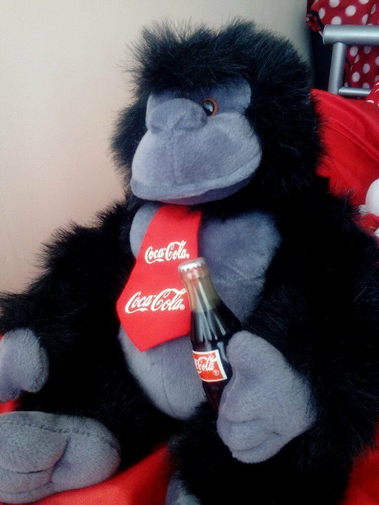 COCA COLA GORILLAin Newcastle, Tyne and WearGumtree - COCA COLA GORILLA SOFT TOY. Wearing a Coca Cola red tie and drinking a bottle of Coca Cola. really fluffy. very Collectable in great condition. made by play by play toys. look at my other ads, I also have a coca cola polar bear for sale £15