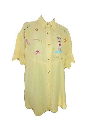 Woman Fashion Designer Vtg 80s Yellow Embroider Pure Silk Blouse Shirt sz XL Y55