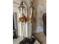 2 x African warrior decorative statues