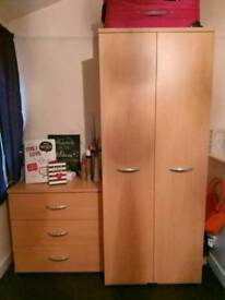 Wardrobe and set of 3 draws perfect condition