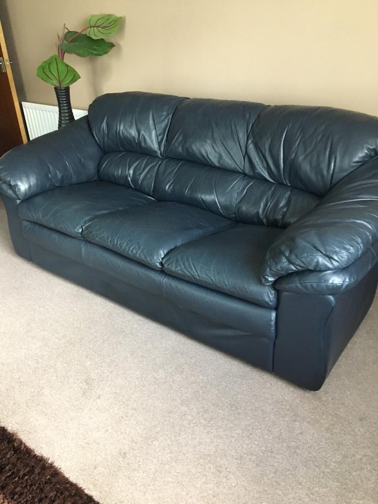 Blue leather sofa & Armchair