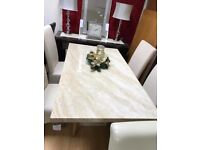 creama engineered marble dining table and chairs