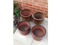 Four garden pots