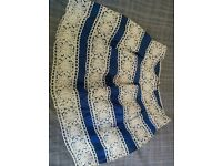 Blue Embroidered Skirt Size M, new