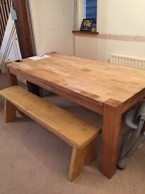 8 seater oak table and two benches