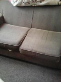 sofa bed brown, old gd condition, few marks as in storage, still can sit good on it and lovely bed