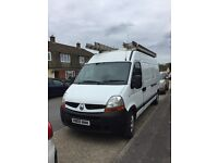 Renault master 2008 lwb, large aluminium roof rack and rear ladder,built in sat nav 12 mts mot