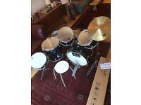 CB 6 piece drum kit with stool and sticks