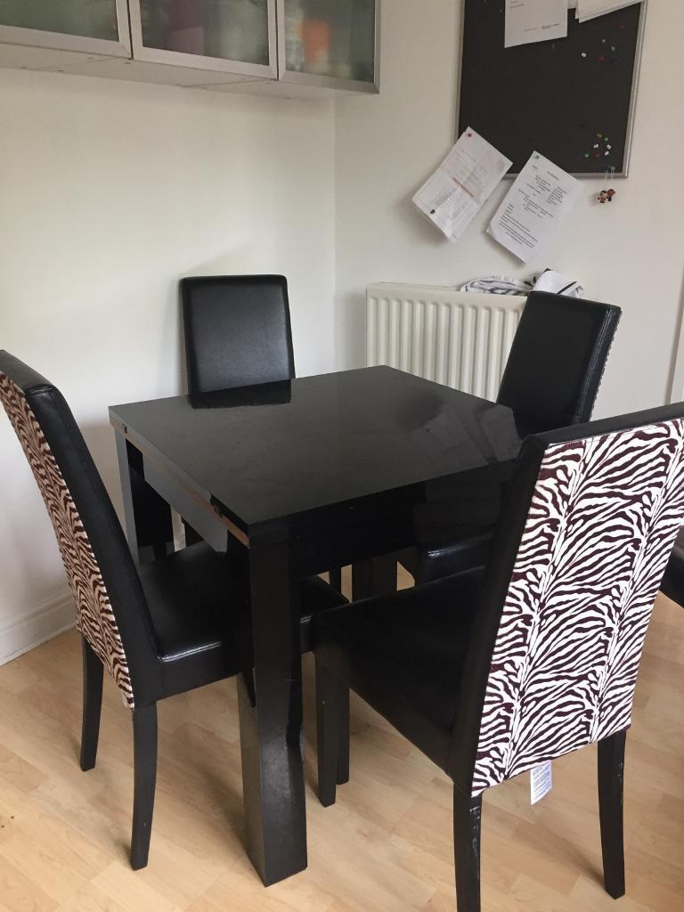 NextShiny Black Dining Table