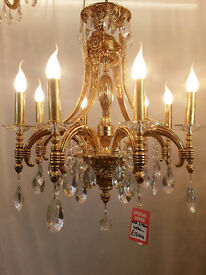 DELUXE 8 ARM CANDLE LIGHT FRENCH STYLE CRYSTAL GLASS CHANDELIER 24K GOLD PLATED