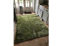 Luxury large green shaggy rug