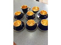 Jersey Ware gold Lustre cobalt blue coffee set. 6 cups & saucers coffee jug and sugar bowl