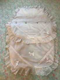 Beautiful white broderie anglaise cosy toes