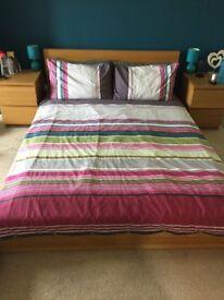 Double oak Ikea MALM bed with mattress