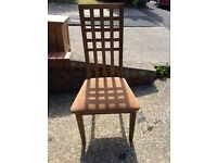 Antique Solid Oak Table X 4 high back chairs