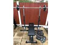 LikeNew Olympic Bench Squat And Weights Set. •Can Deliver•