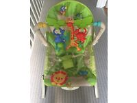 FisherPrice Baby Bouncer Rainforest Friends Chair Rocker Soothing Toys Vibration