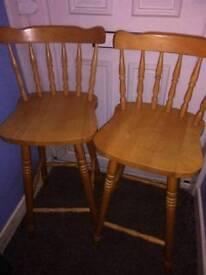 Two Pine High Bar Chairs £8