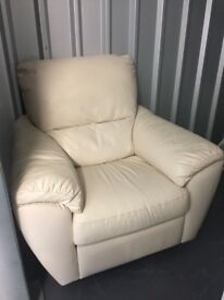 Ivory leather swivel/recliner chair (Manual)