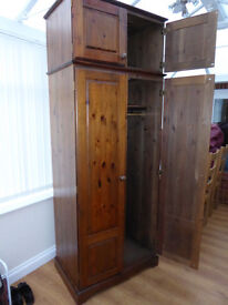 Wooden Wardrobe with Top Box.