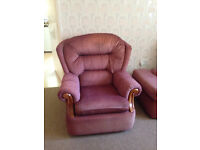 Buoyant armchairs and footstool, colour maroon