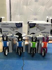 Brand New Bunzi 2 In 1 Gradual Balance Bikes blue green pink