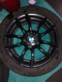 Set of 4 Genuine BMW Black Alloys and Tyres