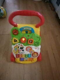 Vtech babywalker push along removable toys