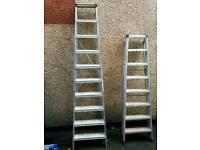 3 heavy-duty aluminium ladders