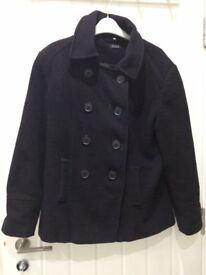 Ladies Black Monix Double Breasted Lined Winter Coat Size 14