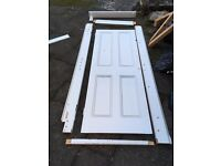 white door and trim 27 inchs by 76 inches with shelf