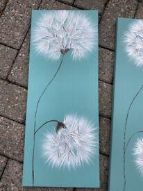 Set of 2 turquoise blue dandelion canvas prints