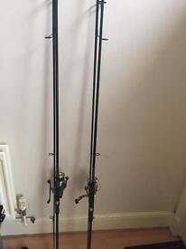 Chub pro hunter carp rods with okumo baitrunners